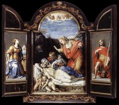 Triptych, by Annibale Carracci - Cd Paintings Italian Baroque, Baroque Art, Annibale Carracci, Fra Angelico, Italian Paintings, Renaissance Paintings, Italian Renaissance, Art Database, Caravaggio