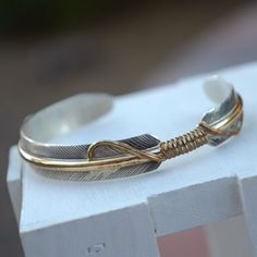 Feather bracelet sterling silver vintage Native by AGardenCottage
