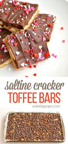 These chocolate saltine cracker toffee bars are incredibly addictive! They are so simple to make but they taste amazing!! If you haven't tried them yet, YOU NEED TO!! Just make sure you have lots of people around to share them with! Cracker Toffee, Toffee Bars, Dessert Recipes, Desserts, Crackers, New Recipes, Sweet Treats, Appetizers, Yummy Food