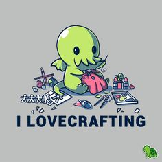 I craft store is calling. and so is Cthulhu. Make HP Lovecraft proud with this grey I LoveCrafting shirt featuring Cthulhu making all kinds of crafts, only at Cute Cartoon Drawings, Cute Animal Drawings, Easy Drawings, Image Deco, Nerdy Shirts, Diy Y Manualidades, Arte Obscura, Cute Art, Chibi