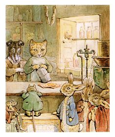 """The Tale of Ginger & Pickles"" by Beatrix Potter  Ginger was a yellow tom-cat, and Pickles was a terrier"