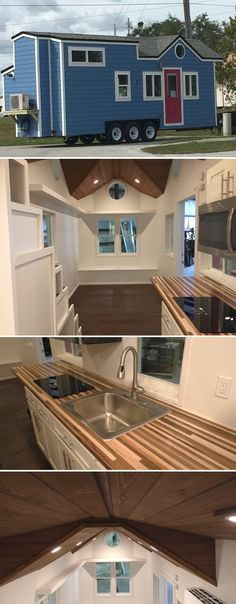 A beautiful blue 26' tiny house featuring stunning stained tongue and groove ceilings, porthole windows, and gorgeous custom butcher block countertops.