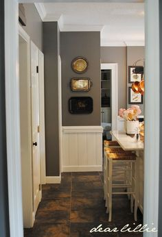 I love this wall color.vintage trays as kitchen wall art //wall color: Benjamin Moore Chelsea Gray. Would look good with wood floors and white cabinets! Grey Kitchen Walls, Kitchen Wall Art, Grey Walls, Kitchen Decor, Kitchen Paint, Benjamin Moore Chelsea Gray, Best Gray Paint Color, Paint Colors, Grey Paint