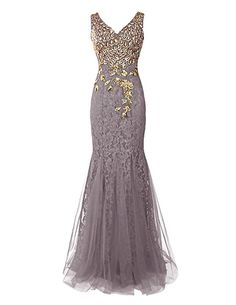 Dresstells® Long Prom Dress Mermaid Bridesmaid Dress Lace Evening Party Gowns Grey Size 26W