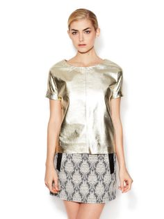 Leather Lamé Top with Folded Cuff by Maje at Gilt