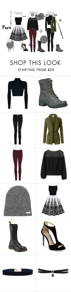"""Fern Outfits"" by xxlost-in-wonderlandxx ❤ liked on Polyvore featuring Rockport, Frame, LE3NO, AG Adriano Goldschmied, Chicwish, Neff, Dr. Martens, Jimmy Choo, Vanessa Mooney and Fallon"