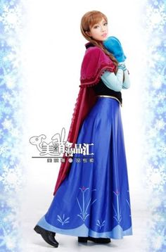 Frozen Anna Hot Pink Cosplay Long Dress Cosplay Whole Set Wear Long Skirt M XL | eBay - lots of detailed photos. $190 + free shipping