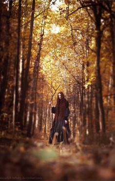By Snowfall-Lullaby #autumn #fall #forest #season #black #dress