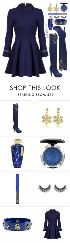 """Lady in blue TwinkleDeals"" by simona-altobelli ❤ liked on Polyvore featuring The Merchant Of Venice, MAC Cosmetics and Tory Burch"