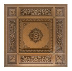 Coffered ceiling of wood