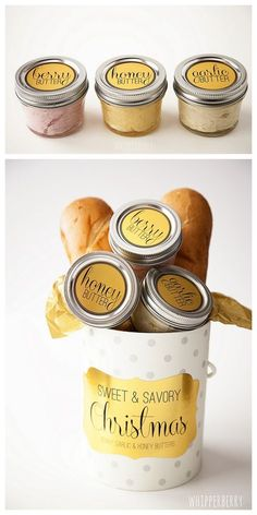 DIY Cheap and Easy Flavored Butter Recipes and Printables by Whipperberry for I Heart Nap Time here. All the recipes are easy but the honey butter is just honey and butter. For more holiday food gifts go here: diychristmascrafts. Diy Food Gifts, Edible Gifts, Jar Gifts, Homemade Gifts, Gift Jars, Candy Gifts, Chutney, Flavored Butter, Homemade Butter