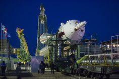 The Soyuz TMA-15M spacecraft is rolled out to the launch pad by train on Friday, Nov. 21, 2014 at the Baikonur Cosmodrome in Kazakhstan.  Launch of the Soyuz rocket is scheduled for Nov. 24 and will carry Expedition 42 Soyuz Commander Anton Shkaplerov of the Russian Federal Space Agency (Roscosmos),