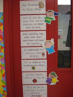 Teaching With Love and Laughter: Character Education Classroom Displays, Kindergarten Classroom, Future Classroom, School Classroom, Classroom Promise, Classroom Rules, Classroom Decor, Beginning Of The School Year, New School Year