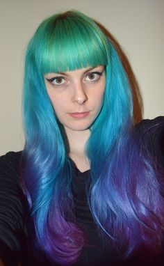 Blue and purple rainbow ombre hair