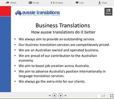 Aussie Translators provides Business translation from Afrikaans to Zulu - and everything in between.