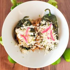 Vegetarian Chile Relleno - Southern & Modern Stuffed Poblanos, Stuffed Poblano Peppers, Stuffed Mushrooms, Grilled Vegetables, Veggies, Oaxaca Cheese, Chile Relleno, Mexican Food Recipes, Oaxaca