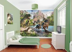"""Dinosaur Land Walltastic - Dinosaur Theme Wallpaper - Bedroom Mural. My two year old would constantly be pointing at it and saying, """"Wow!"""" for weeks... or longer. :P"""