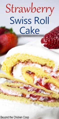 Fresh strawberries and whipped cream rolled into a light sponge cake makes an impressive dessert. This Swiss Roll is perfect when strawberries are at the peak of the season. Make for a birthday celebration, Mother's Day or whenever you want a special dessert. Cake Roll Recipes, Cake Recipes From Scratch, Dessert Recipes, Baking Recipes, Ham Recipes, Spinach Recipes, Avocado Recipes, Cauliflower Recipes, Sausage Recipes