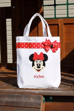 Personalized White Minnie Mouse Halloween Trick or Treat Tote Bag - Disney Mickey Mouse