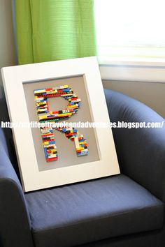 Letter made out of legos!  Now to find some legos.