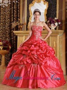 Elegant Red Ball Gown Strapless Floor-length Pick-ups Taffeta Discount Quinceanera Dresses