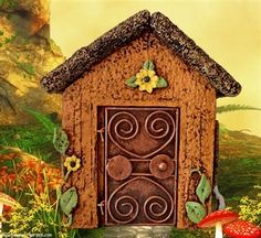 A cheerful cottage fairy house with mini opening door to decorate your miniature fairy gardens.