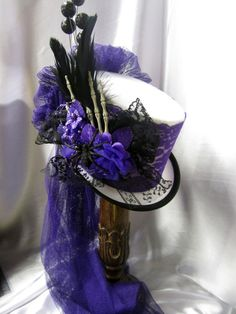 Halloween Top hat/ riding hat, white felt with purple lace, skeleton hand