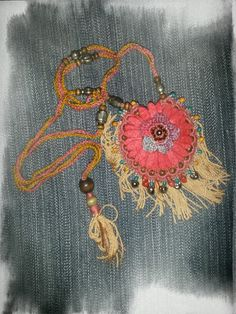 Gypsy/Bohemian inspired crochet necklace Ella Blue Inspirations
