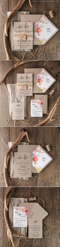 Eco Wedding Invitations with calligraphy writing & floral printing #ecofriendly #floral #rustic #boho #weddingideas