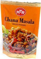 MTR Chana Masala (Spice Powder) - 3.52oz. Suitable for vegetarian. MTR Chana Masala is flavored with coriander powder, red chilli powder, dry mango powder, cumin powder, fenugreek powder, dry ginger powder and other savory ingredients. A mouth-watering recipe is provided on the back of the package. Serve with roti, naan, chapathi, basmati rice or any other way you desire.