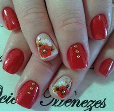 Unhas decoradas Floral Nail Art, Pretty Hands, Red Nails, Gel Polish, Nail Art Designs, Manicure, Beautiful, How To Make, Red Toenails