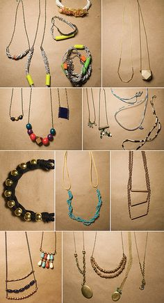 Some of the necklaces my students made in the class at Lena Corwin's studio! Talented bunch of ladies, having never made any jewelry before, eh? I want Patricia (top left) to start selling hers.      Looks Great.