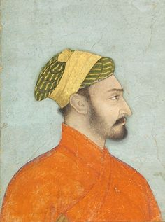 Profile Portrait of an Elegant Mughal Nobleman. India, Mughal, circa 1660-70. Opaque watercolor with gold on paper. Folio: 31.6 x 23.5 cm; Painting 22 x 14.4 cm.