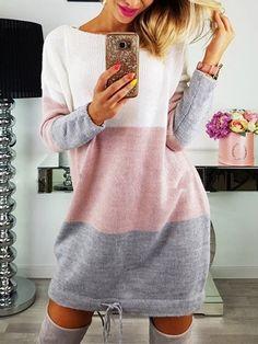 13eb6ba2a1 Women s Daily Basic Mini Sweater Dress - Solid Colored White Fall ...