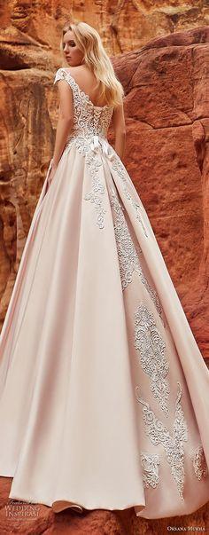 oksana mukha 2018 bridal cap sleeves v neck heavily embellished bodice romantic princess a line wedding dress corset back chapel train (isadora) zbv