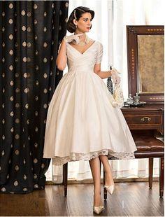 Lanting Bride A-line / Princess Petite / Plus Sizes Wedding Dress-Tea-length V-neck Taffeta