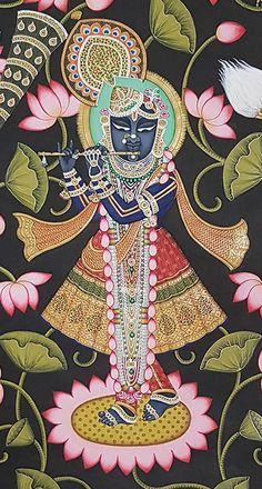 Shrinathji With Gopis Playing Music – Artisera Pichwai Paintings, Indian Art Paintings, Watercolor Paintings Abstract, Madhubani Art, Madhubani Painting, Krishna Painting, Krishna Art, Indian Traditional Paintings, Rajasthani Art