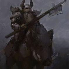 m Dwarf Fighter Hvy Armor Helm Halberd Giant Wild Boar Mount evening hills fog ArtStation by ivan stan lg Fantasy Dwarf, Fantasy Rpg, Medieval Fantasy, Fantasy World, Fantasy Concept Art, Fantasy Character Design, Character Concept, Character Art, Dark Souls