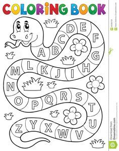 Coloring Book Snake With Alphabet Theme Stock Vector - Illustration of drawing, education: 65596159 Preschool Writing, Preschool Learning Activities, Alphabet Activities, Toddler Learning, Alphabet Tracing Worksheets, Printable Preschool Worksheets, Kindergarten Worksheets, English Worksheets For Kids, English Activities