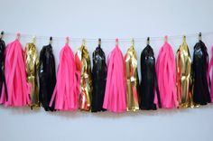 Bachelorette parties or bridal showers are PERFECT for this gorgeous garland. And Paris party decorations are so HOT right now! This hot pink, black and gold tassel garland has 28 tassels on 8 length of twine. Ooh la la!  This garland is gorgeous! It would make a Midnight in Paris party look and feel so perfect. It would look fantastic at ANY party or even to fancy-up a bedroom, nursery, office or dorm room. 28 gold and black mylar and hot pink tissue paper are strung onto 8 of twine. Or 20…