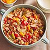 Quinoa with Sausage & Peppers  Quinoa, a healthy whole grain, stars alongside Italian sausage and sweet peppers in our soul-warming stew. Best of all, this calcium-rich dish is less than 300 calories.