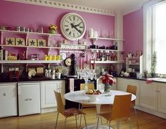 When it comes to interior design, I would have to say that flea market style is probably my favorite. Crazy Kitchen, Open Kitchen, Beach House Kitchens, Shops, Flea Market Style, Bachelorette Pad, Lounge, Pink Walls, Home Decor Inspiration