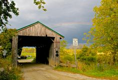 Scribner Covered Bridge   Johnson, Vermont, USA   A storm was rolling in late Saturday afternoon, and creating that great light you get with the sun and stormy skies. Then, for just a few seconds, this rainbow appeared.