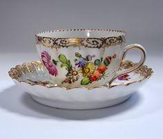 Antique German DRESDEN Tea Cup and Saucer Set by TeacupsAndOldLace