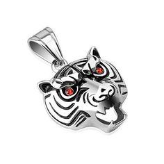 Growling with Red CZ Eyes Pendant, Men's