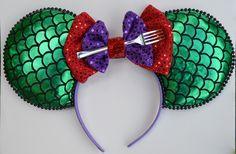 Ariel Mickey Ears, Ariel Minnie Ears, Ariel, The Little Mermaid Mickey Ears, Little Mermaid Ears, Ariel Ears, Disney themed Ears by CreationsbyMayomay on Etsy https://www.etsy.com/listing/452724548/ariel-mickey-ears-ariel-minnie-ears