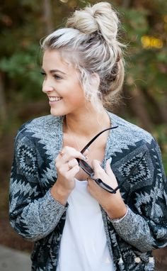 "CARA LOREN - great top knot and hair color even like the ""root"" color"