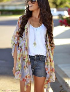 White tee, flowy patterned cardigan, jean shorts