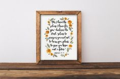 Watercolor Print Jeremiah 29:11 Bible Verse painting quote