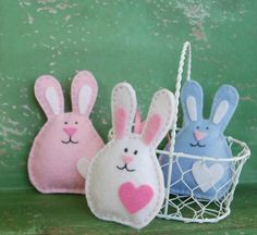Set of 3 Felt Bunnies - Easter Decoration - Pink, White, and Blue - Embroidered Bunny Ornaments for Easter - Easter Basket Stuffer
